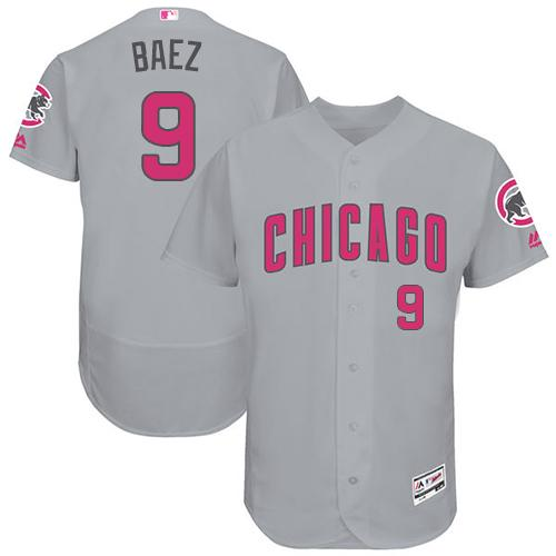 Chicago Cubs #9 Javier Baez Grey Flexbase Authentic Collection Mother's Day Stitched MLB Jersey
