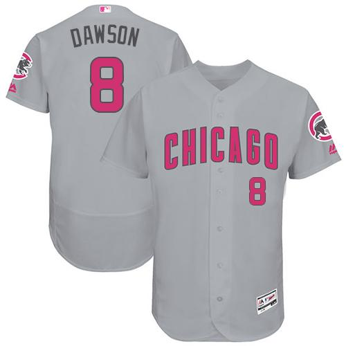Chicago Cubs #8 Andre Dawson Grey Flexbase Authentic Collection Mother's Day Stitched MLB Jersey