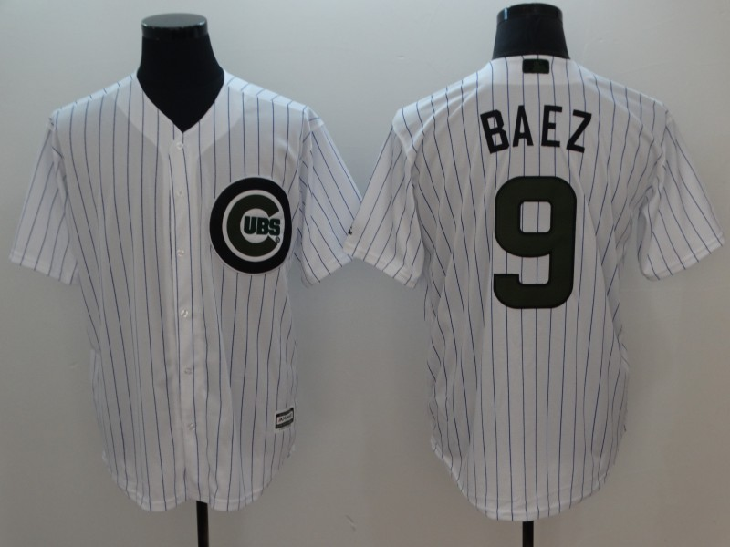 Chicago Cubs #9 Javier Baez White 2018 Memorial Day Cool Base Jersey