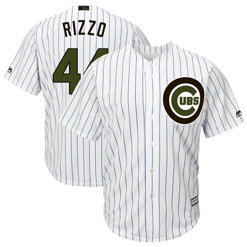 Chicago Cubs #44 Anthony Rizzo White(Blue Strip) New Cool Base 2018 Memorial Day Stitched Baseball Jersey