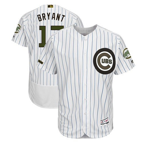 Chicago Cubs #17 Kris Bryant White(Blue Strip) Flexbase Authentic Collection 2018 Memorial Day Stitched Baseball Jersey