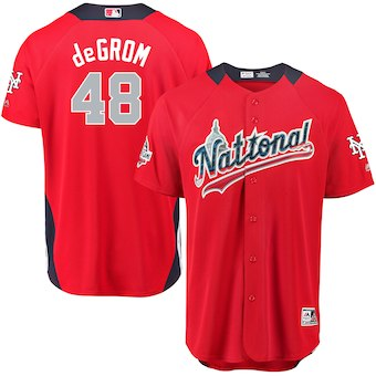 Men's National League #48 Jacob deGrom Majestic Red 2018 MLB All-Star Game Home Run Derby Player Jersey