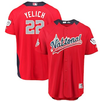 Men's National League #22 Christian Yelich Majestic Red 2018 MLB All-Star Game Home Run Derby Player Jersey