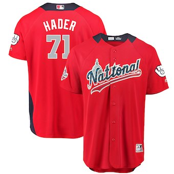 Men's National League #71 Josh Hader Majestic Red 2018 MLB All-Star Game Home Run Derby Player Jersey