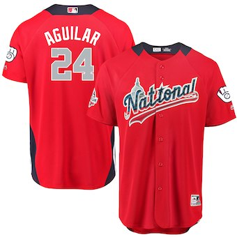 Men's National League #24 Jesus Aguilar Majestic Red 2018 MLB All-Star Game Home Run Derby Player Jersey