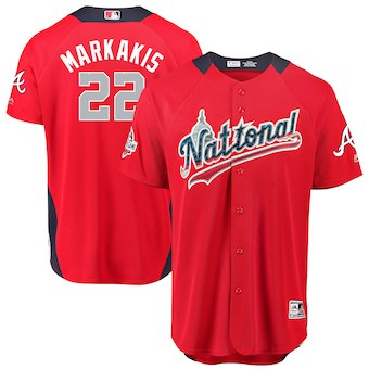 Men's National League #22 Nick Markakis Majestic Red 2018 MLB All-Star Game Home Run Derby Player Jersey