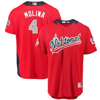 Men's National League #4 Yadier Molina Majestic Red 2018 MLB All-Star Game Home Run Derby Player Jersey