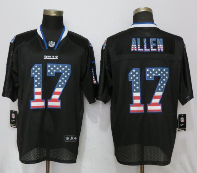 sale retailer 311d3 98947 Nike Buffalo Bills #17 Josh Allen Black USA Flag Fashion ...