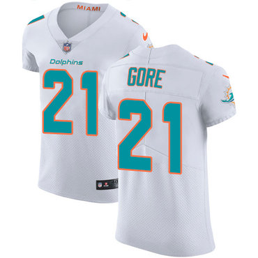 best sneakers c00a2 f8a23 Nike Miami Dolphins #21 Frank Gore White Men's Stitched NFL ...