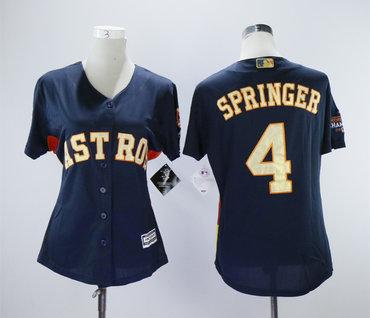 sale retailer 58ec6 bb16d Houston Astros #4 George Springer Navy Women 2018 Gold ...