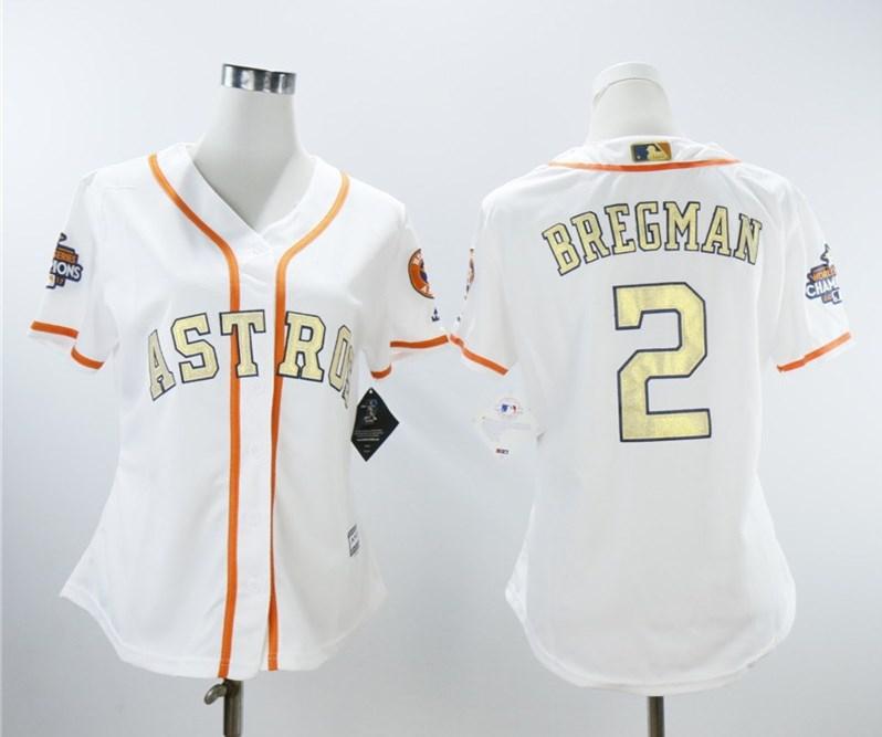 Houston Astros #2 Alex Bregman White Women 2018 Gold Program Cool Base Jersey
