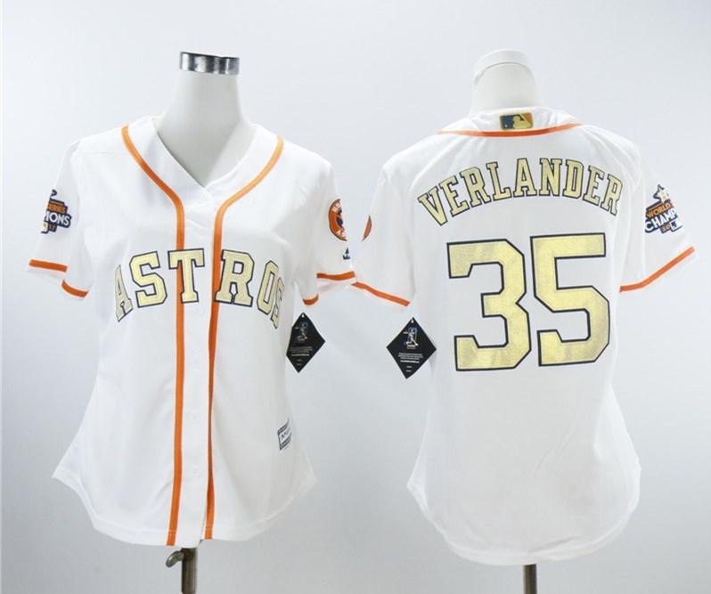 Houston Astros #35 Justin Verlander White Women 2018 Gold Program Cool Base Jersey