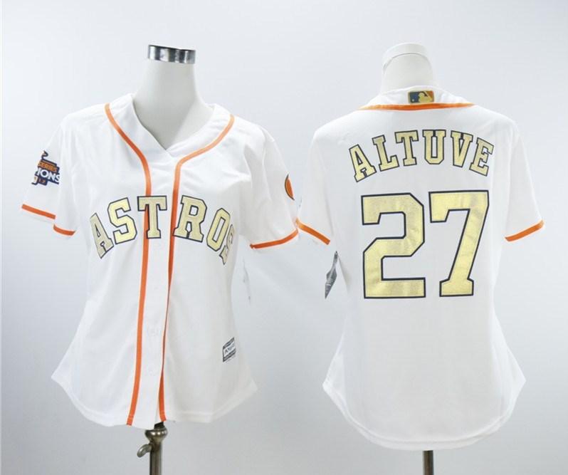 Houston Astros #27 Jose Altuve White Women 2018 Gold Program Cool Base Jersey