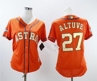 Houston Astros #27 Jose Altuve Orange Women 2018 Gold Program Cool Base Jersey