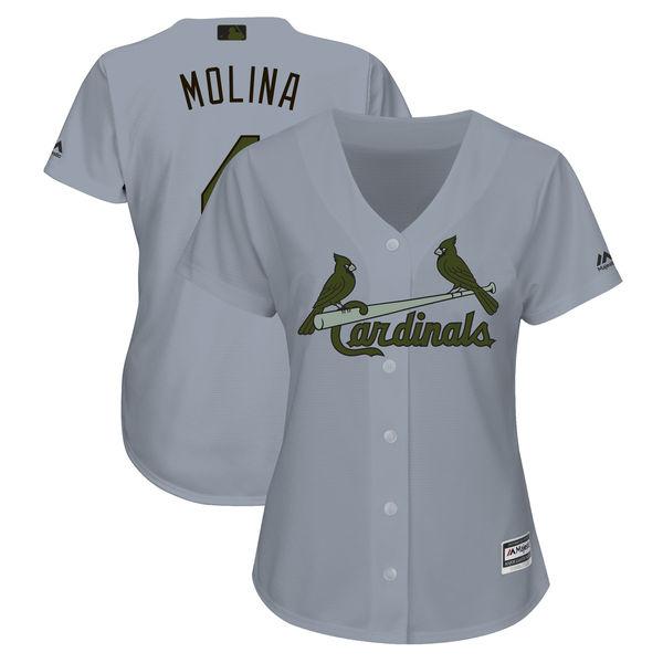 St. Louis Cardinals #4 Yadier Molina Gray Women 2018 Memorial Day Cool Base Jersey