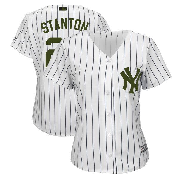 New York Yankees #27 Giancarlo Stanton White Women 2018 Memorial Day Cool Base Jersey