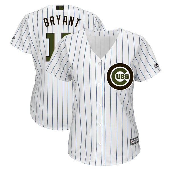 Chicago Cubs #17 Kris Bryant White Women 2018 Memorial Day Cool Base Jersey