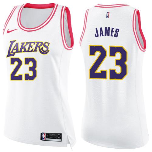 Women's Nike Los Angeles Lakers #23 LeBron James White Pink NBA Swingman Fashion Jersey