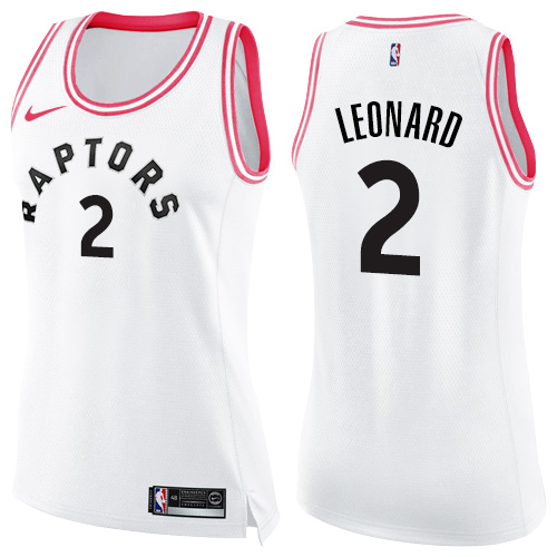 Women's Nike Toronto Raptors #2 Kawhi Leonard White Pink NBA Swingman Fashion Jersey