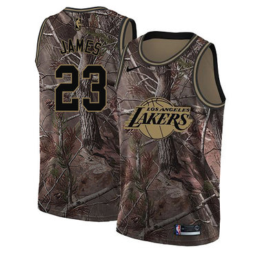 Youth Nike Los Angeles Lakers #23 LeBron James Camo NBA Swingman Realtree Collection Jersey