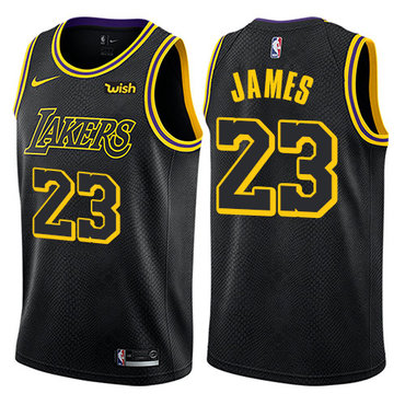 Youth Nike Los Angeles Lakers  23 LeBron James Black NBA Swingman City  Edition Jersey f4b1f3408