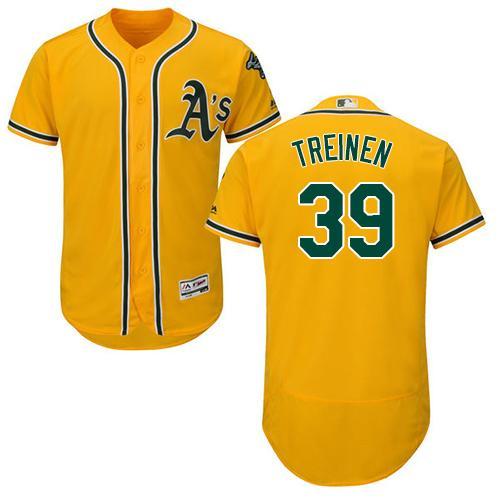 Oakland Athletics #39 Blake Treinen Gold Flexbase Authentic Collection Stitched Baseball Jersey