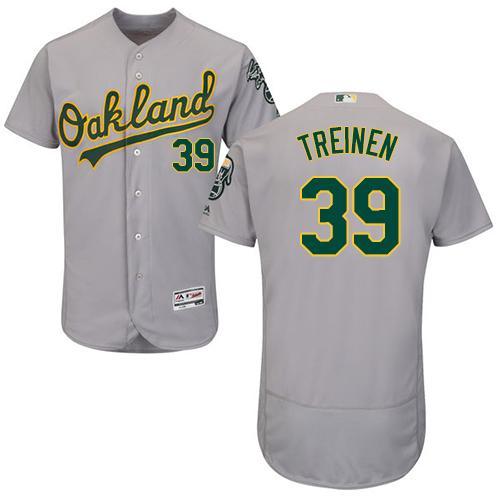 Oakland Athletics #39 Blake Treinen Grey Flexbase Authentic Collection Stitched Baseball Jersey