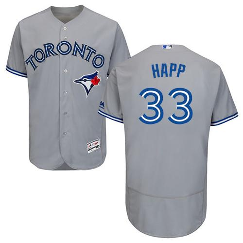 Toronto Blue Jays #33 J.A. Happ Grey Flexbase Authentic Collection Stitched Baseball Jersey