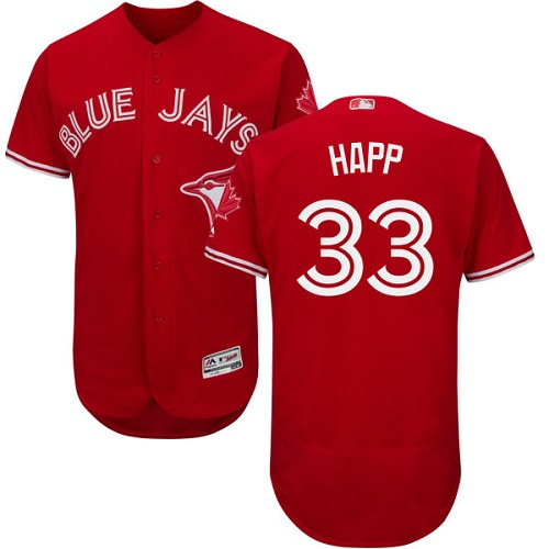 Toronto Blue Jays #33 J.A. Happ Red Flexbase Authentic Collection Canada Day Stitched Baseball Jersey