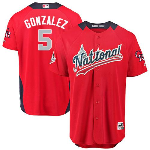 Rockies #5 Carlos Gonzalez Red 2018 All-Star National League Stitched Baseball Jersey