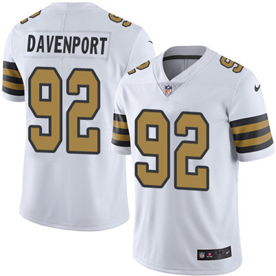 Youth Nike Saints #92 Marcus Davenport White Stitched NFL Limited Rush Jersey