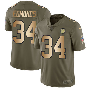 Nike Steelers #34 Terrell Edmunds Olive Gold Youth Stitched NFL Limited 2017 Salute to Service Jersey