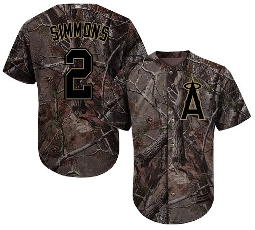 LA Angels of Anaheim #2 Andrelton Simmons Camo Realtree Collection Cool Base Stitched MLB Jersey