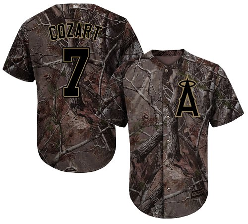 LA Angels of Anaheim #7 Zack Cozart Camo Realtree Collection Cool Base Stitched MLB Jersey
