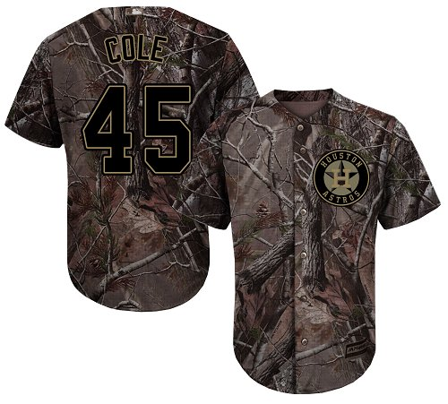 Houston Astros #45 Gerrit Cole Camo Realtree Collection Cool Base Stitched MLB Jersey
