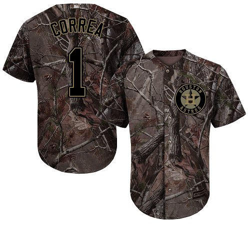 Houston Astros #1 Carlos Correa Camo Realtree Collection Cool Base Stitched MLB Jersey