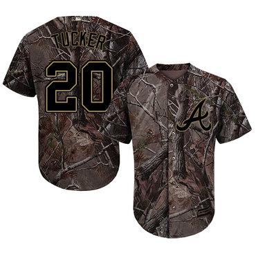 Atlanta Braves #20 Preston Tucker Camo Realtree Collection Cool Base Stitched MLB Jersey