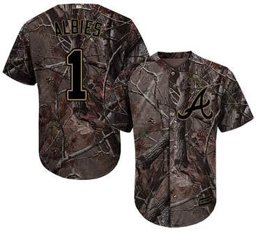 Atlanta Braves #1 Ozzie Albies Camo Realtree Collection Cool Base Stitched MLB Jersey