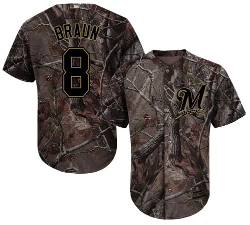 Milwaukee Brewers #8 Ryan Braun Camo Realtree Collection Cool Base Stitched MLB Jersey