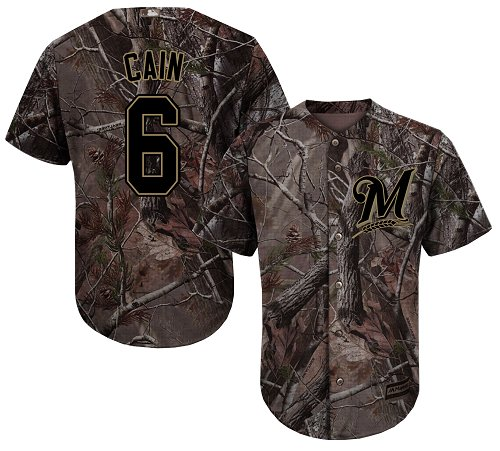 Milwaukee Brewers #6 Lorenzo Cain Camo Realtree Collection Cool Base Stitched MLB Jersey