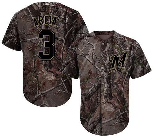 Milwaukee Brewers #3 Orlando Arcia Camo Realtree Collection Cool Base Stitched MLB Jersey