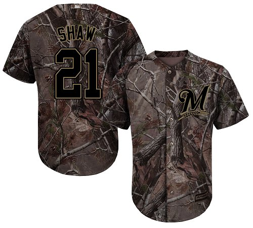 Milwaukee Brewers #21 Travis Shaw Camo Realtree Collection Cool Base Stitched MLB Jersey