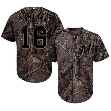 Milwaukee Brewers #16 Domingo Santana Camo Realtree Collection Cool Base Stitched MLB Jersey