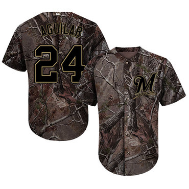 Milwaukee Brewers #24 Jesus Aguilar Camo Realtree Collection Cool Base Stitched MLB Jersey