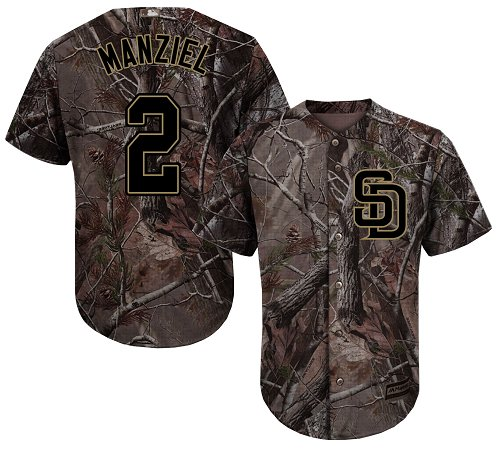 San Diego Padres #2 Johnny Manziel Camo Realtree Collection Cool Base Stitched MLB Jersey