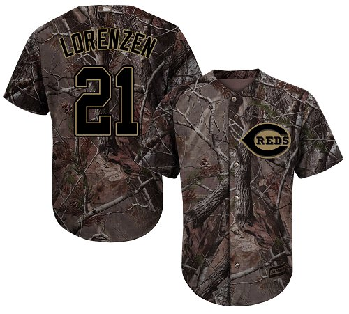 Cincinnati Reds #21 Michael Lorenzen Camo Realtree Collection Cool Base Stitched MLB Jersey