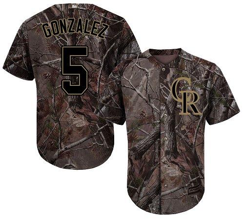 Colorado Rockies #5 Carlos Gonzalez Camo Realtree Collection Cool Base Stitched MLB Jersey