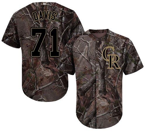 Colorado Rockies #71 Wade Davis Camo Realtree Collection Cool Base Stitched MLB Jersey