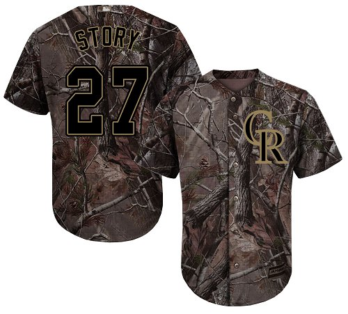 Colorado Rockies #27 Trevor Story Camo Realtree Collection Cool Base Stitched MLB Jersey