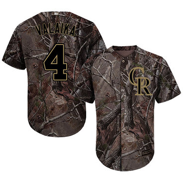Colorado Rockies #4 Pat Valaika Camo Realtree Collection Cool Base Stitched MLB Jersey